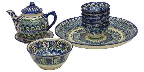 Купить Чайный сервиз из глины, ручной работы 3 (синий), цена 3990 : Посуда, Посуда из глины, Узбекская